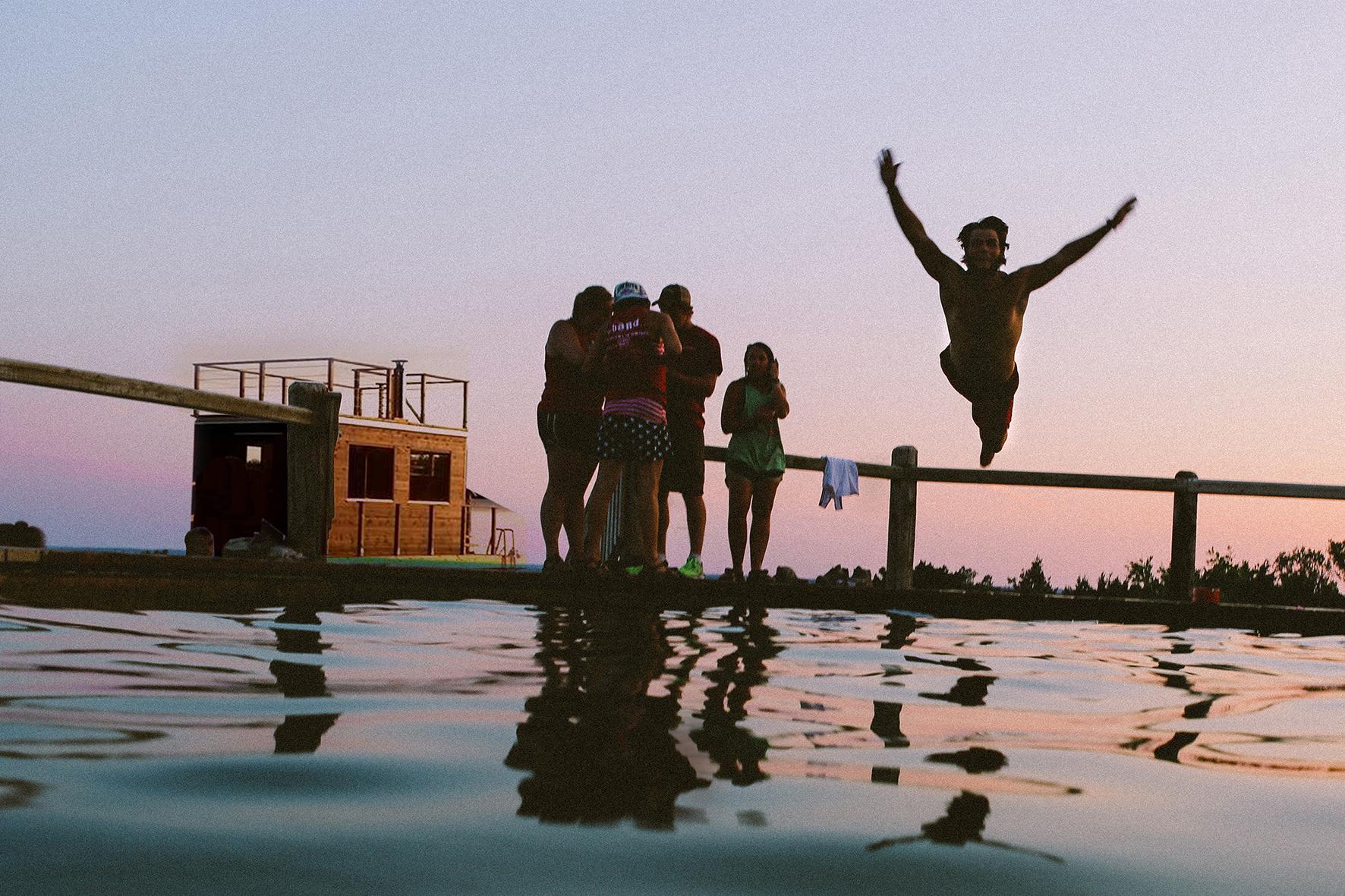 Sauna Floß auf dem See