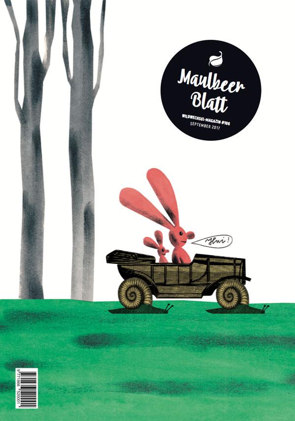 Zwei Hasen fahren mit dem Schneckenauto