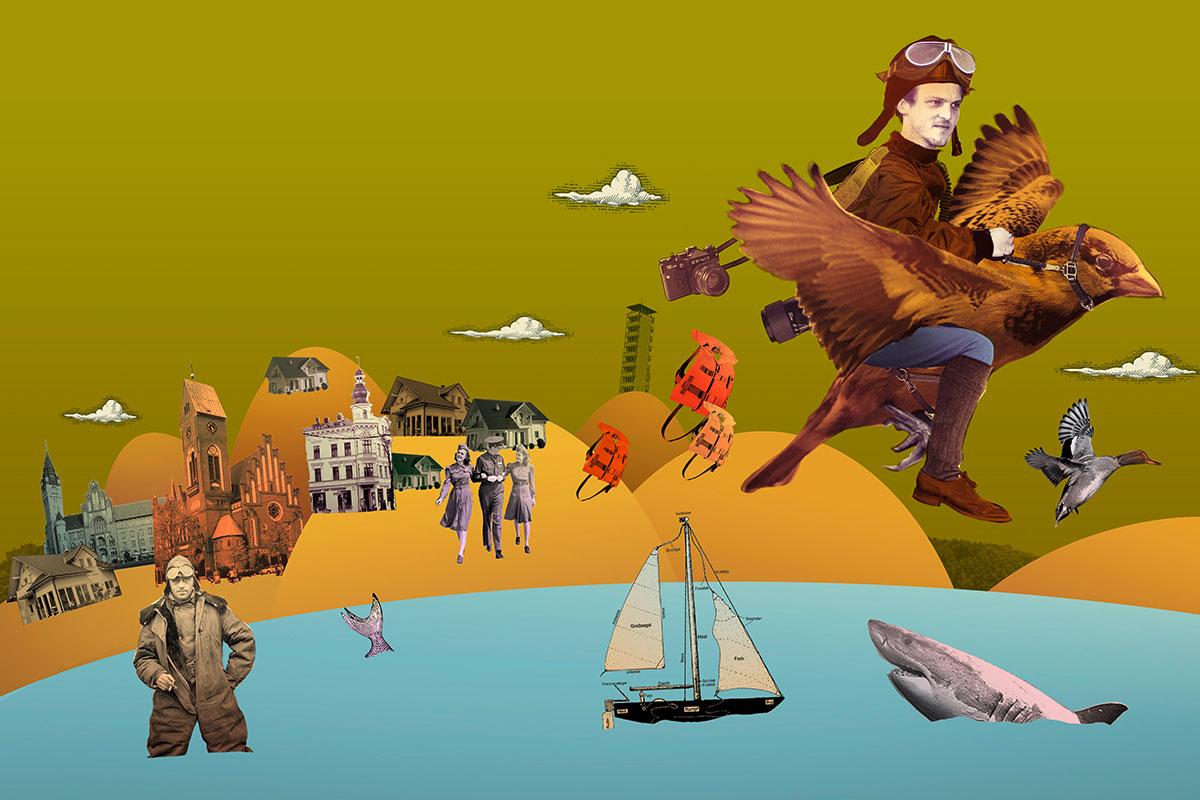 Collage von Andreas Hartung zum weitgereisten Direktkandidaten der Treptow-Köpenicker Bündnisgrünen