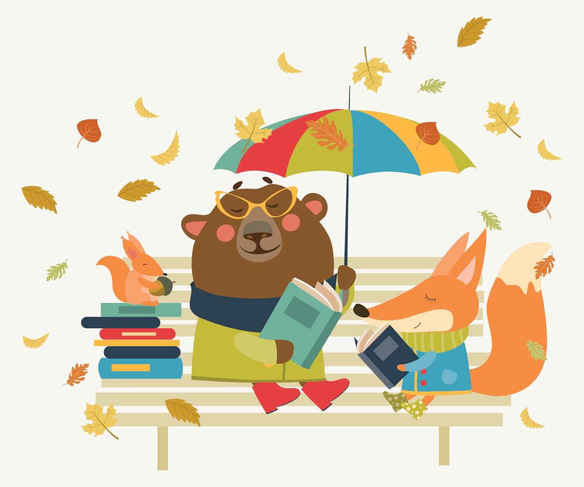 Eichhörnchen, Bärin und Fuchs lesen auf einer Parkbank, Laub wirbelt auf.