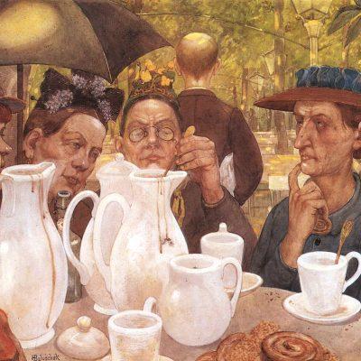 Gemälde älterer Damen am Kaffeetisch in der Natur