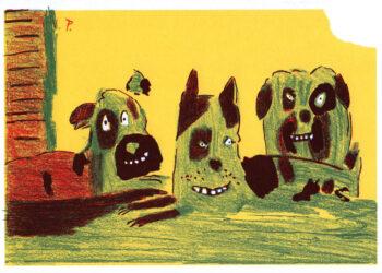 drei Hunde vor Hütte