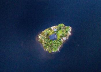 Eine Insel aus der Vogelperspektive