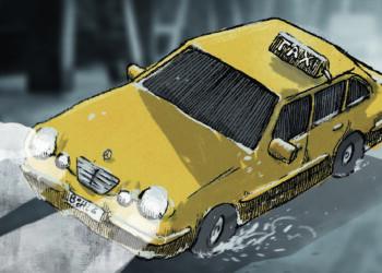 Ein Taxi schlittert durch die Nacht.