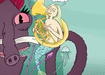 Nixe mit Basstuba und kraken