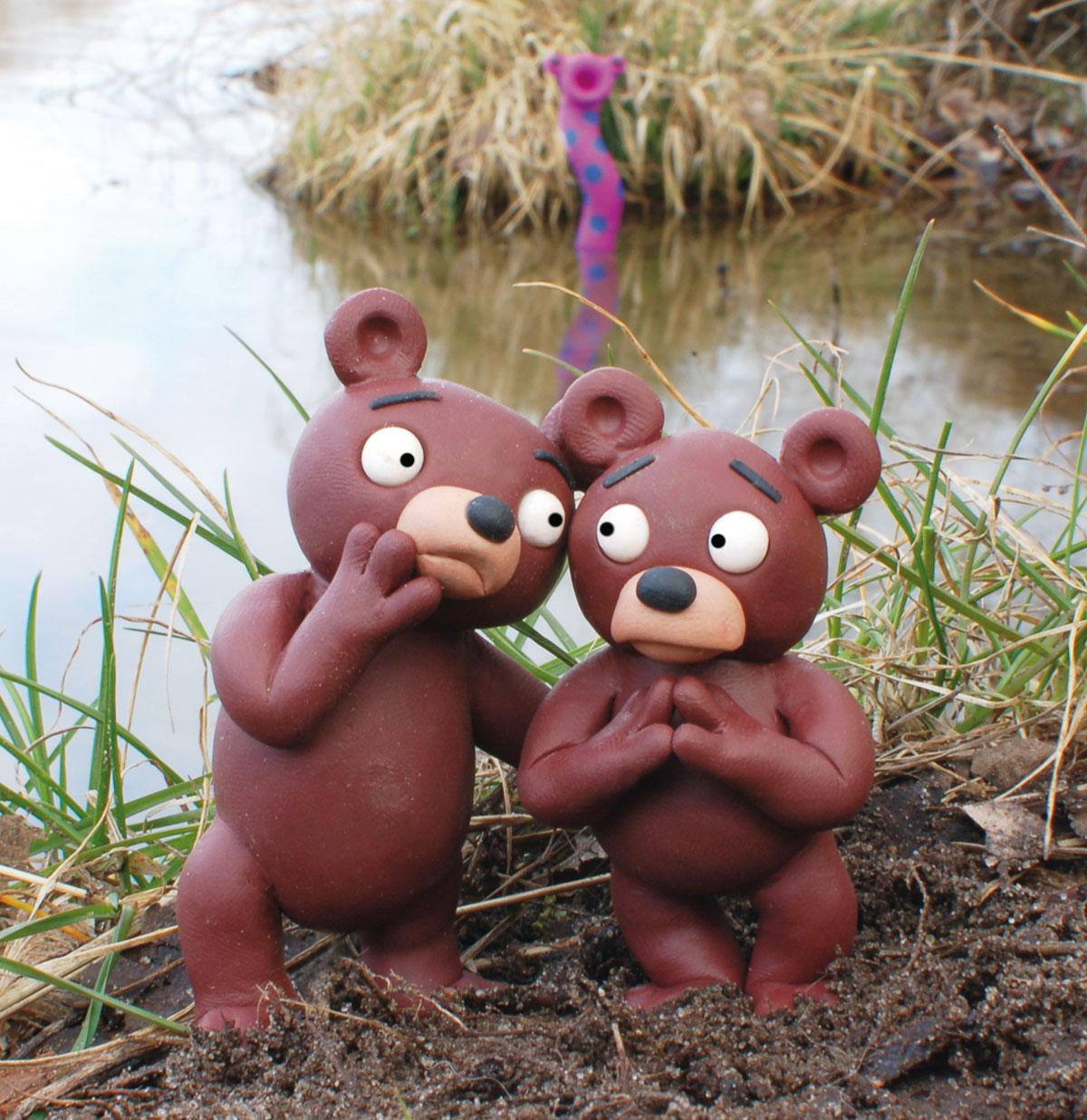 Wuhlebär und Erpebär in Furcht vor dem Schreckenswurm Wuzilla vereint