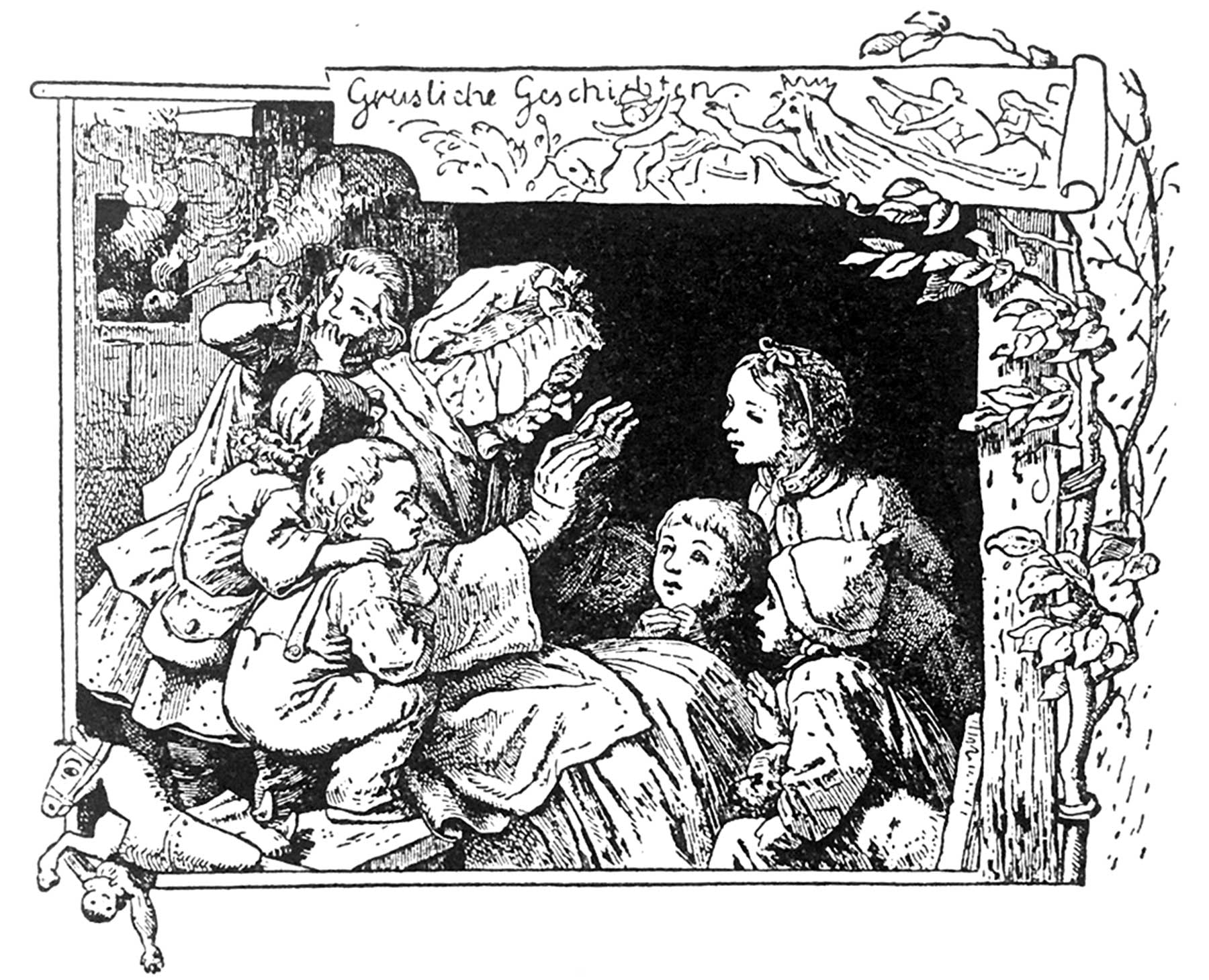 Großmutter Grimm am Ofen erzählt der sechsköpfgen Kinderschar gruselige Märchen