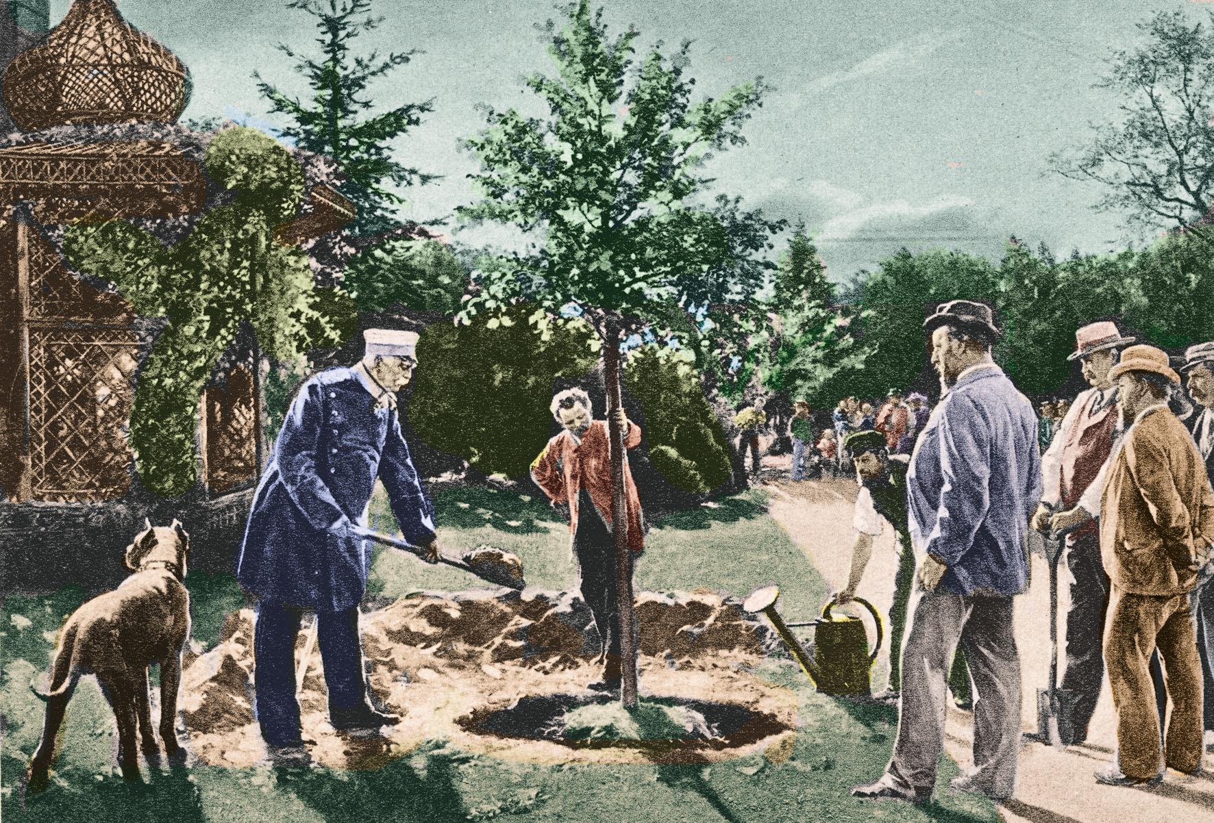 Bismark pflanzt einen Gedenkbaum im Späth-Arboretum, 1884