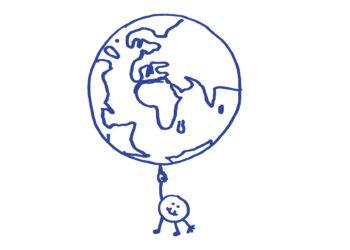 Ein Elementarteilchen jongliert mit der Weltkugel