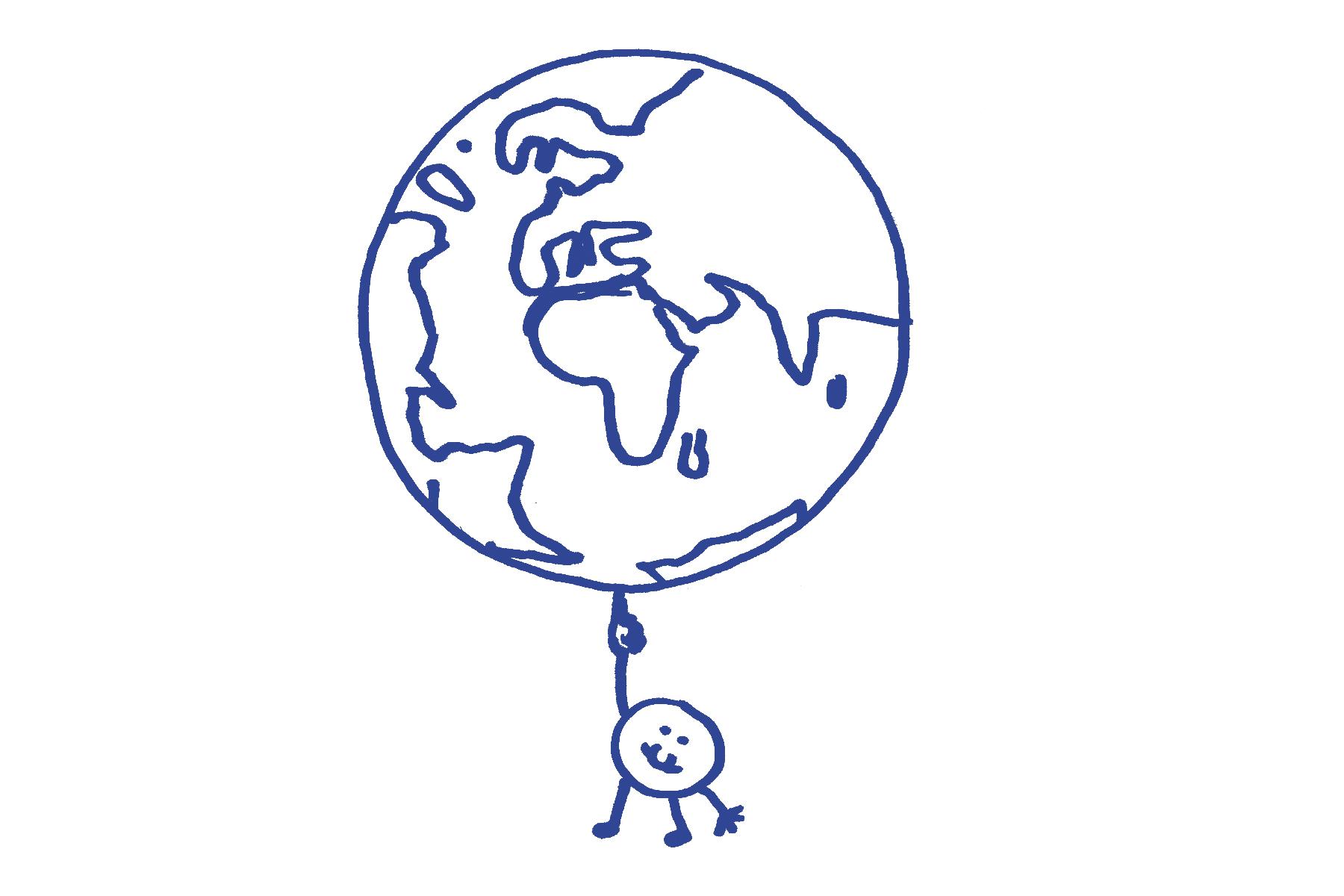 Elementarteilchen dreht Weltkugel auf der Fingerspitze