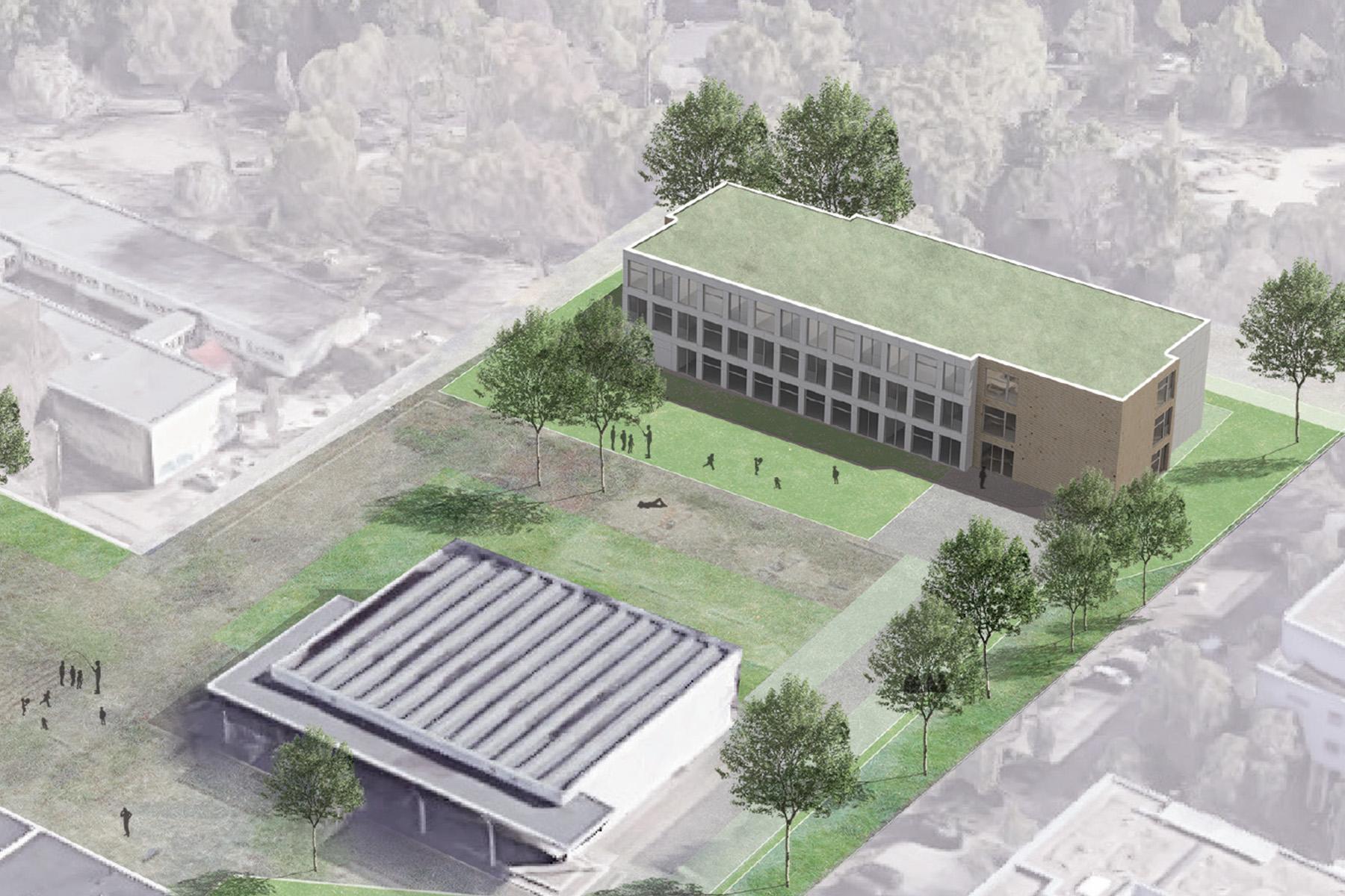 Schulgebäude in Holzmodul-Bauweise. Standortbeispiel: Bernhard-Grzimek-Schule Lichtenberg