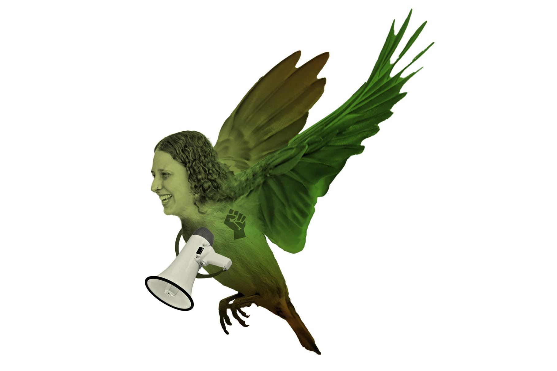 Annka Esser als grüner Vogel mit Megafon