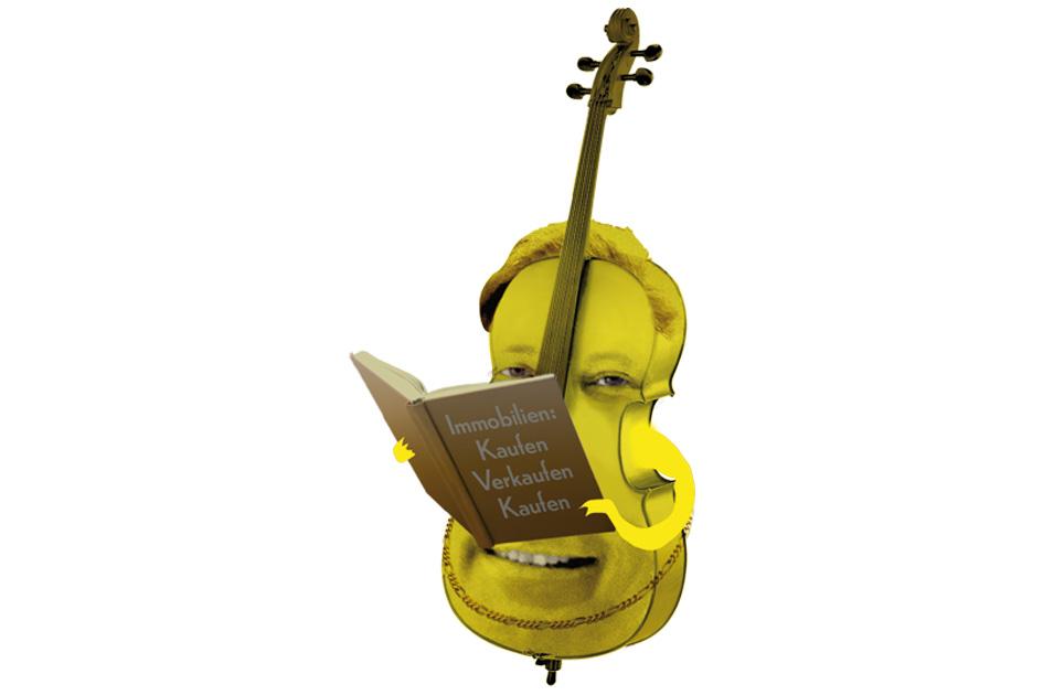 Carl Grouwet als gelbes Cello liest in einem Immobilienführer