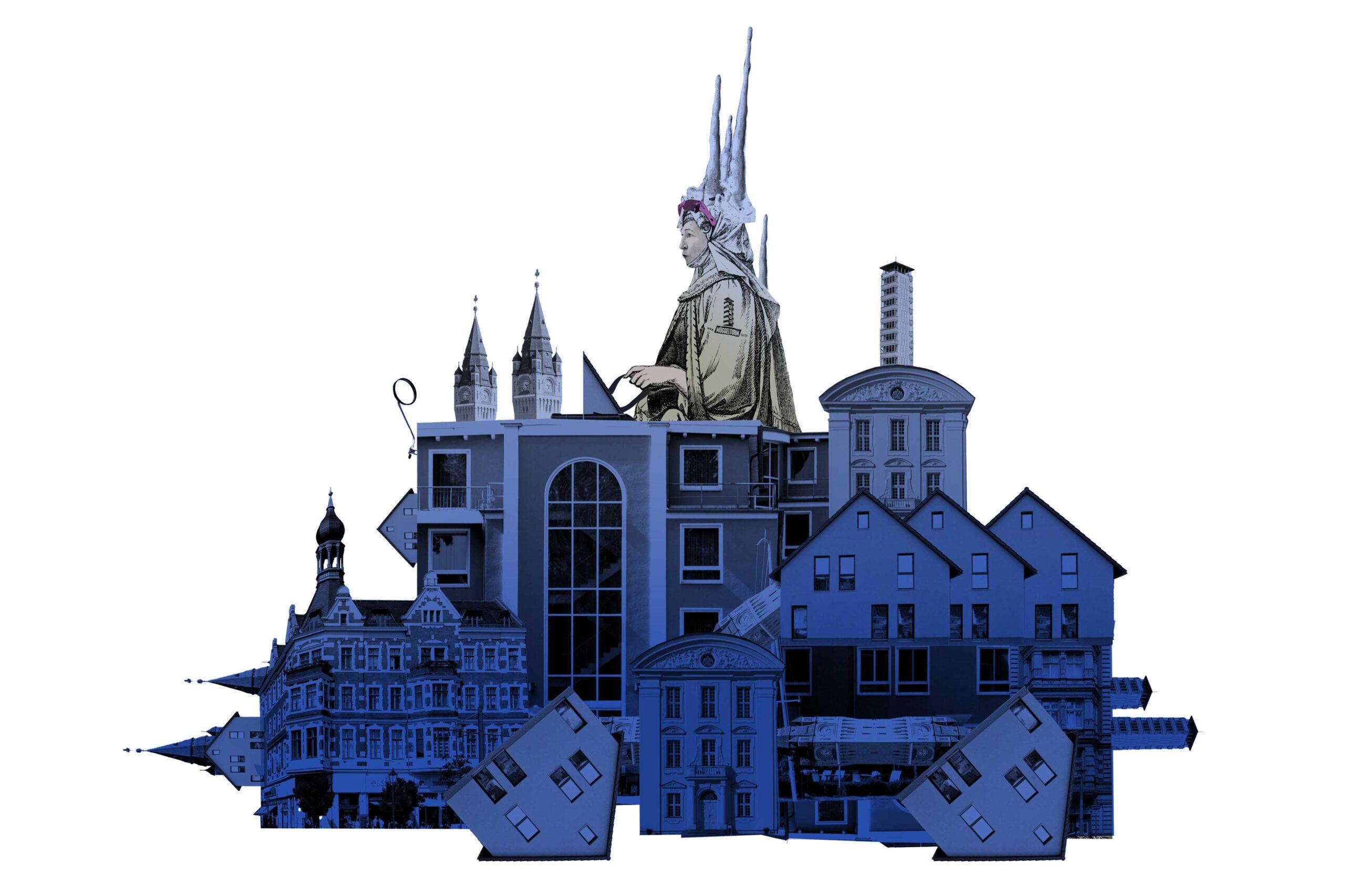 Claudia Pechstein in einem Gefährt aus hundert blauen Häusern