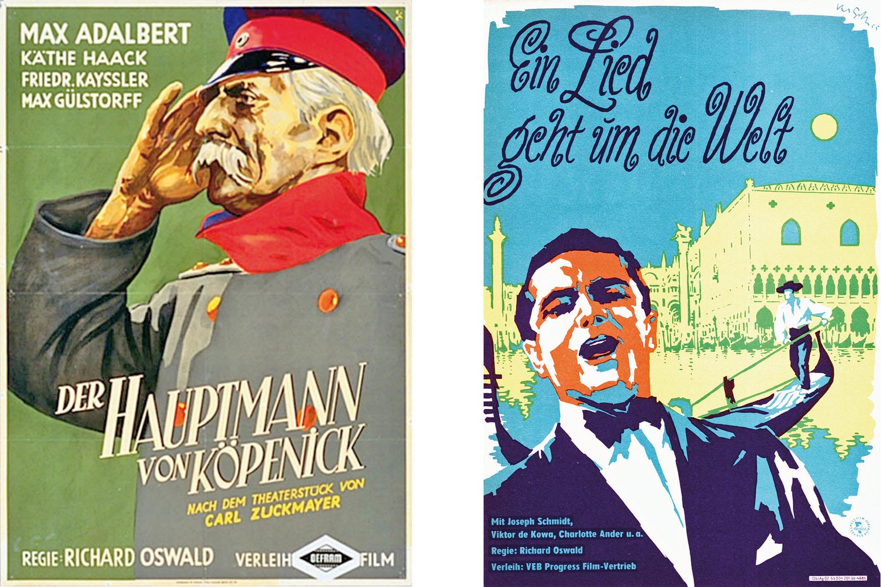 """Filmplakate für """"Der Hauptmann von Köpenick"""" und """"Ein Lied geht um die Welt"""""""