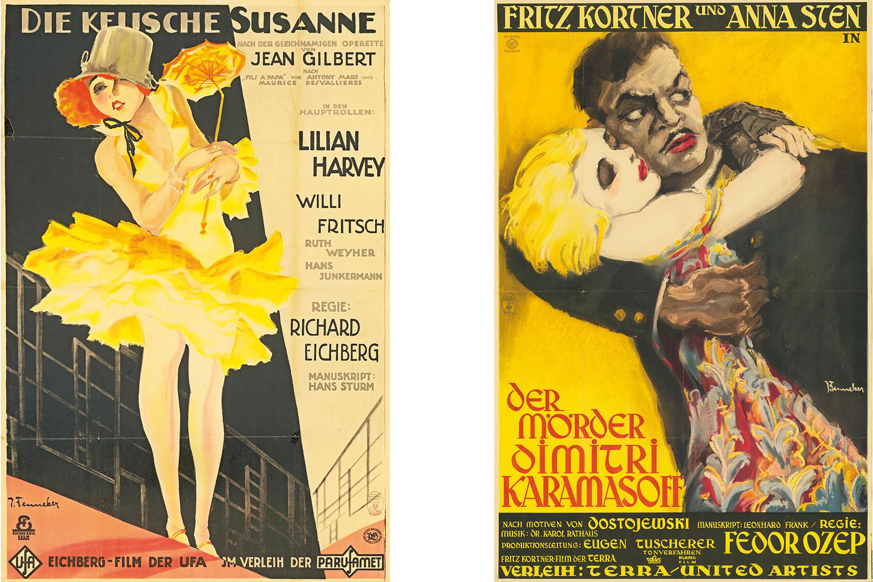 """Filmplakate für """"Die keusche Susanne"""" und """"Der Mörder Dimitri Karamasoff"""""""
